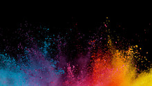 Explosion Of Colored Powder On...