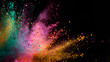 canvas print picture - Explosion of colored powder on black background