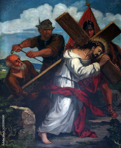 Obraz na plátně 5th Stations of the Cross, Simon of Cyrene carries the cross, Sanctuary of St