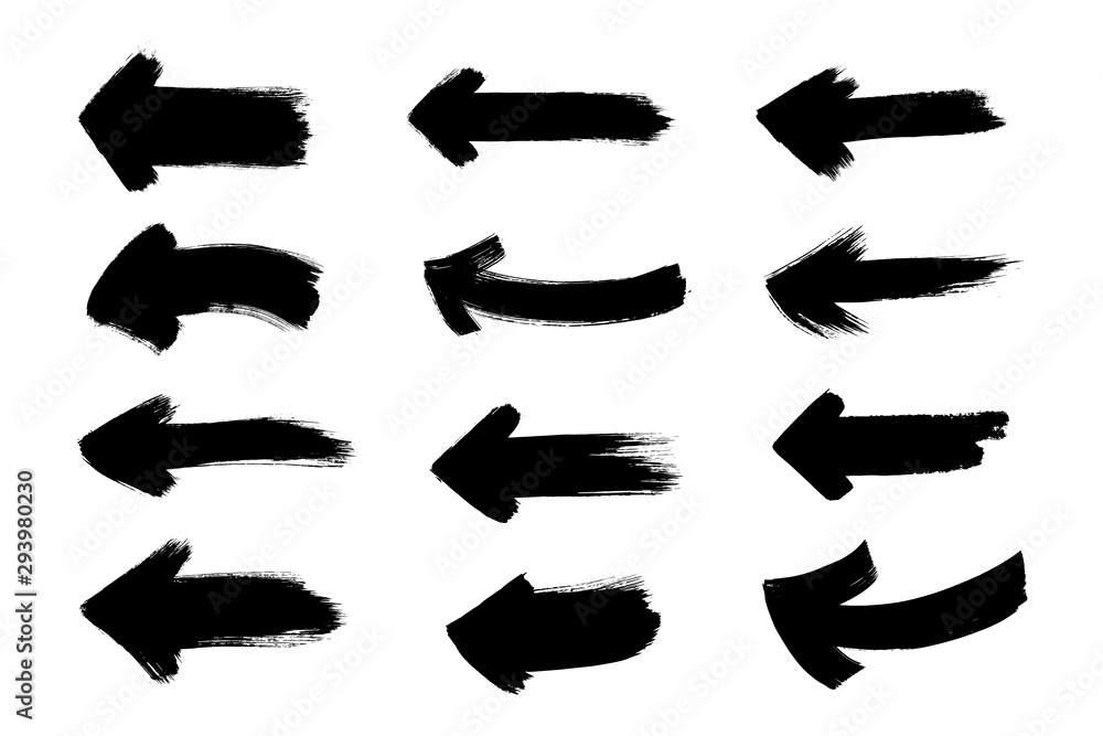 Set of grunge black arrows. Text design element. Hand painted symbol.
