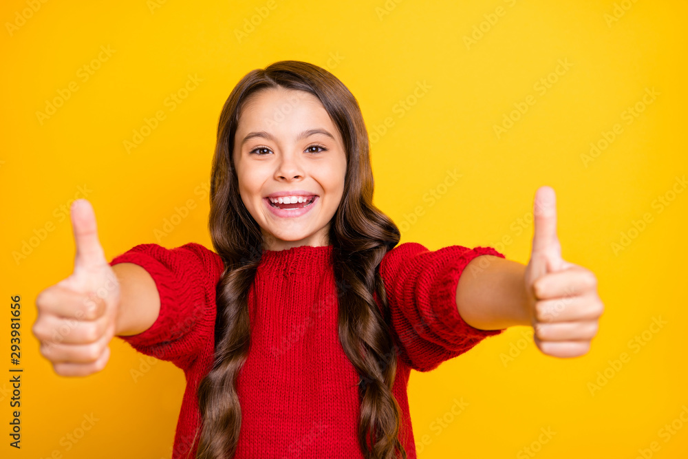Fototapety, obrazy: Close up photo of positive cheerful emotion funky kid show thumb up enjoy ads give feedback choice decisions recommend promo wear style lifestyle jumper isolated over yellow color background