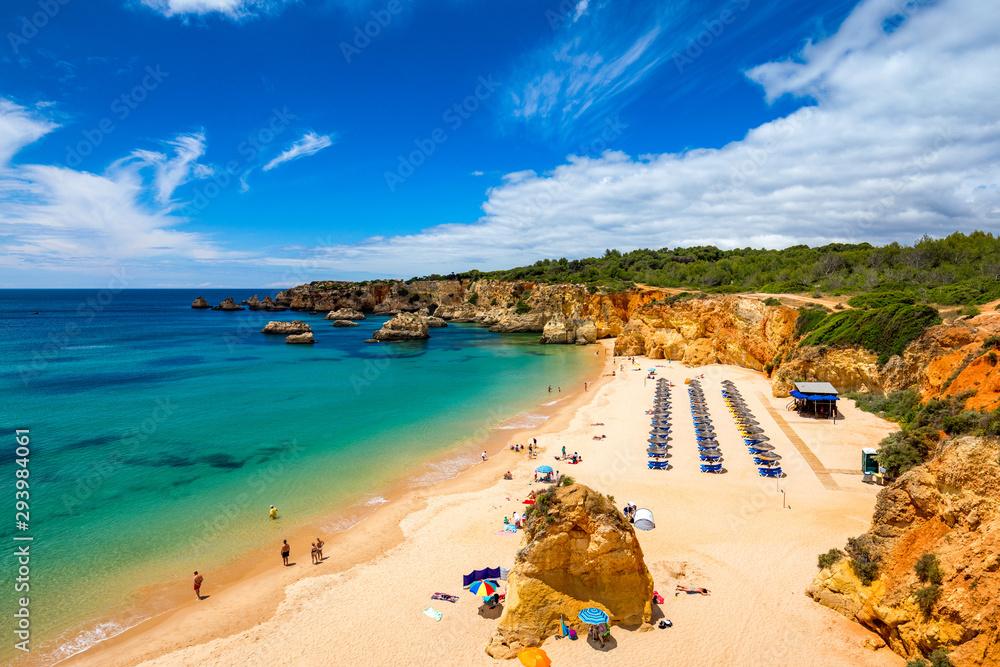 Fototapety, obrazy: Beach of Barranco das Canas in Portimao, Algarve, Portugal. Praia do Barranco das Canas in Portimao, Portugal, Algarve.