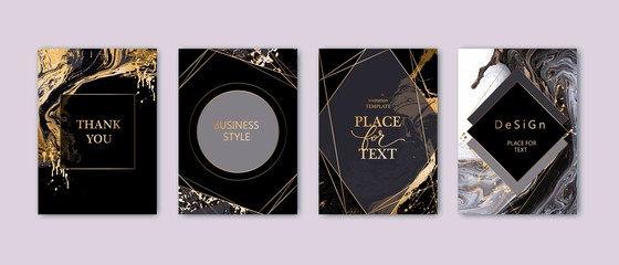 Modern card design. Hand drawn splatters. Marble texture. Gold, white, black colors brochure, flyer, invitation template. Business identity style. Geometric shape. Vector.