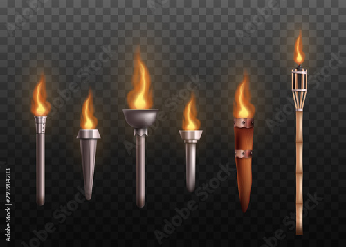 Fotografía Realistic medieval torch set with burning fire, ancient metal and wooden torches