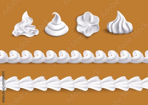 Fototapeta Whipped cream swirl shape topping and horizontal border line shape set obraz
