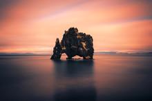 Sunset At The Hvitserkur Basalt Stack In Northern Iceland