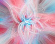 Abstract Big Flower Of Pastel Colors From Another Planet With Pale Rays