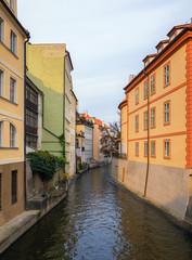 Fototapeta na wymiar Prague Mala Strana canal and houses. Prague, Czech Republic