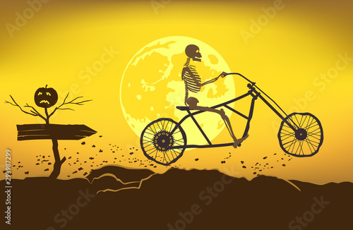 The skeleton rides a motorcycle frame on a bad road to the Halloween Wallpaper Mural