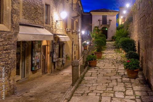 Republic San Marino. Old street at sunset.