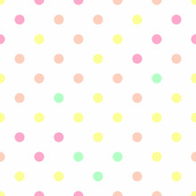 Pastel Polka Dot Seamless, Pattern Background, Vector.