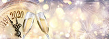 Fototapeta Sypialnia - New Year 2020 - Countdown And Toast With Champagne And Clock