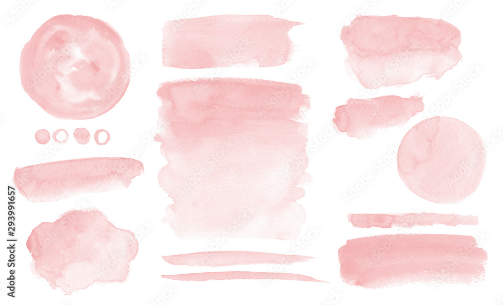 Fototapeta Blush pink watercolor stains Paint stropke washes Kit of splashes