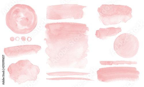 Fényképezés Blush pink watercolor stains Paint stropke washes Kit of splashes