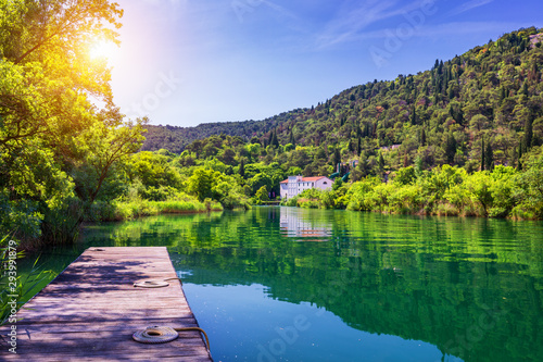 Foto op Canvas Aubergine Waterfalls Krka, National Park, Dalmatia, Croatia. View of Krka National Park, Roski Slap location, Croatia, Europe. Beautiful world of Mediterranean countries. Traveling concept background.