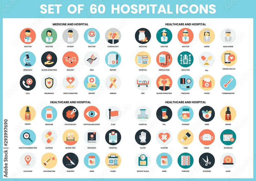 Fototapeta Hospital icons set for business,