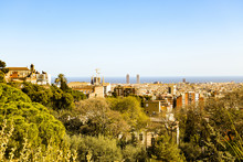 Spring Barcelona General View From Mountain Montjuic. Beautiful Urban Landscape With Green Hills, Gardens, Trees, Red Roofs For Architectural Print, Poster. Bright Springtime On Mediterranian Sea