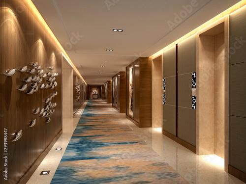Photographie 3d render of hotel floor corridor