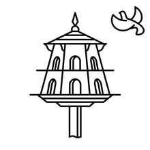 Dovecote Outline Icon. House For Birds. Pigeons Home Symbol.