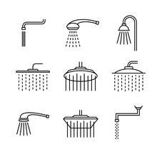 Shower Head Type Icons Set. Ou...