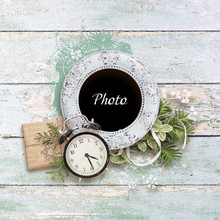 Winter Frame For Photo In Scrapbook Style. Winter Album Of Memories. Beautiful Christmas Frame For Photos. New Year Time. Christmas Mood. Snow Border On Vintage Wooden Blue Background