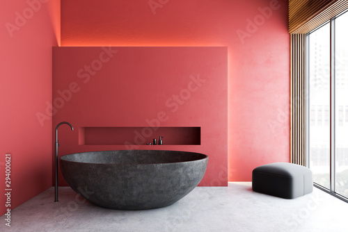 Red minimalistic bathroom with gray tub - 294000621