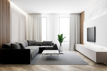 Modern Living Room With TV And...