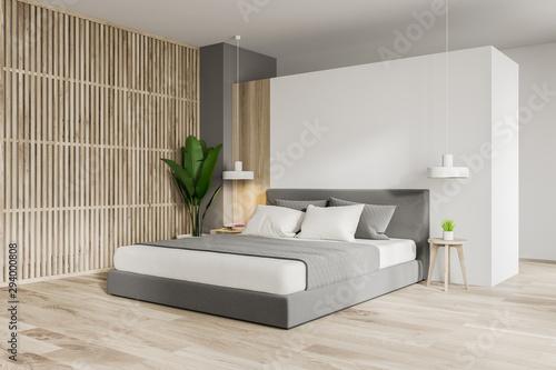 White and wooden master bedroom corner Fototapet