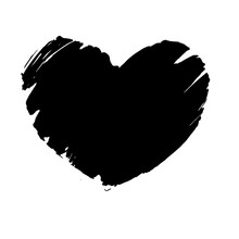 Black Grunge Textured Heart. Hand Drawn Symbol Of Love. Vector Design Element.