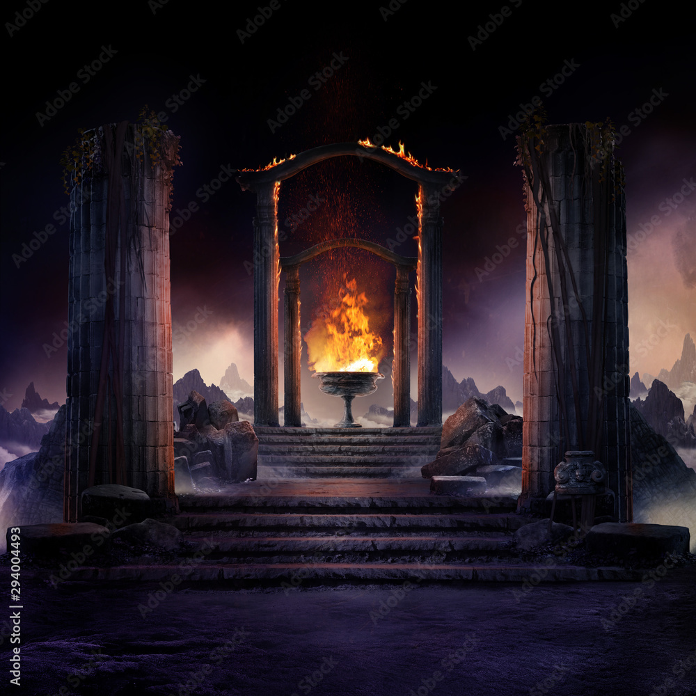 Fototapeta The eternal fire, dark atmospheric landscape with stairs to ancient columns and font of fire, fantasy background