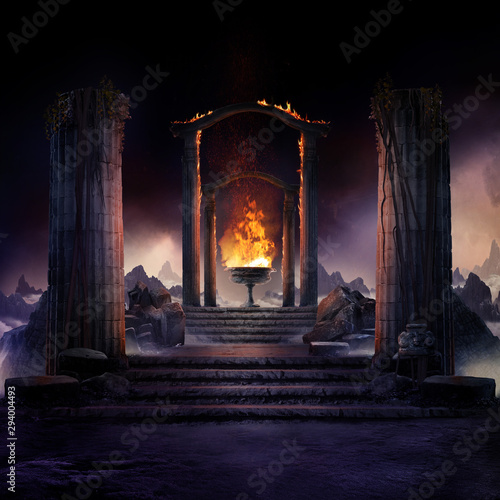 Fotografia The eternal fire, dark atmospheric landscape with stairs to ancient columns and