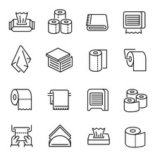 Napkins And Toilet Paper Vector Linear Icons Set
