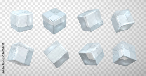 Frozen ice cubes realistic vector illustrations set Canvas Print