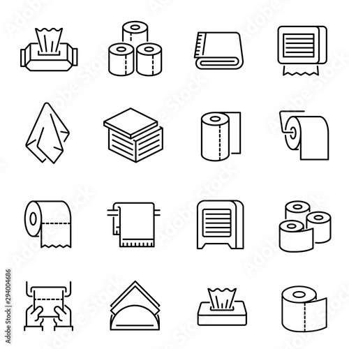Valokuvatapetti Napkins and toilet paper vector linear icons set