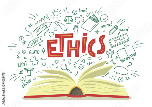 Obraz Ethics. Open book with moral philosophy hand drawn doodles and lettering on white background. Education vector illustration. - fototapety do salonu