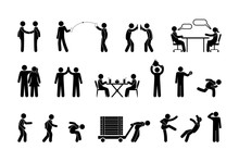 Man Icons, People Interaction And Communication, Stick Figure Pictogram, Isolated Human Silhouettes