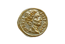 Roman Gold Aureus Replica Coin Obverse Of Roman Emperor Augustus 27BC-14AD Cut Out And Isolated On A White Background