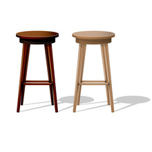 Bar Wooden Stool Isolated On W...