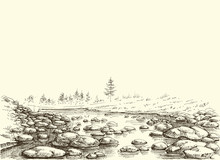 Mountain River Hand Drawing. Water Flow Border