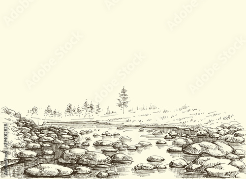 Photo Mountain river hand drawing. Water flow border