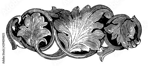 Brooch, leaves pattern, vintage engraving. Fototapete