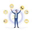 Businessman is standing on a background of office icons. Multitasking and time management concept. Effective management. Vector illustration