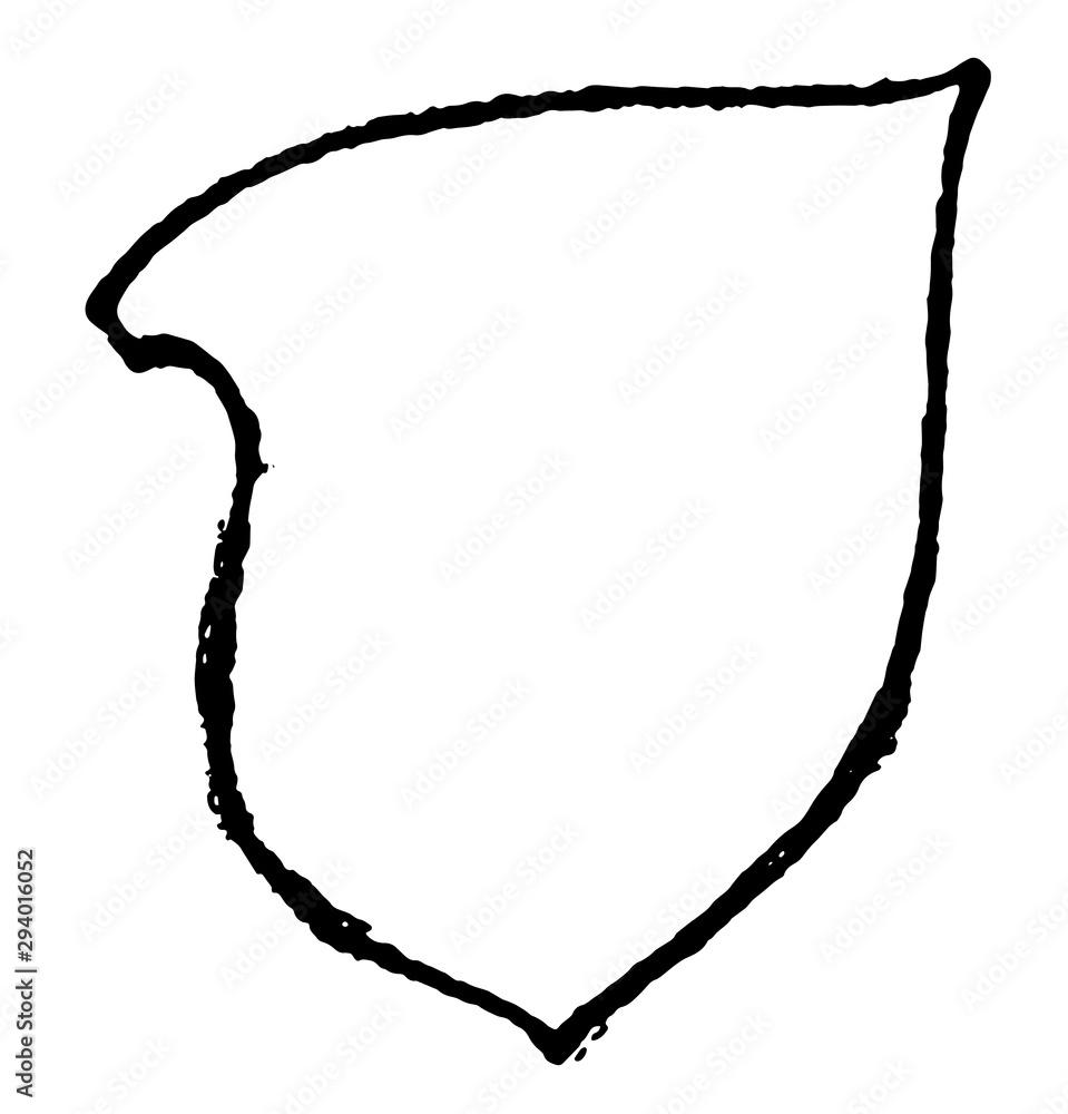 Tilting Shield have a simple shape, vintage engraving. - obrazy, fototapety, plakaty