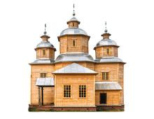 Wooden Church On White
