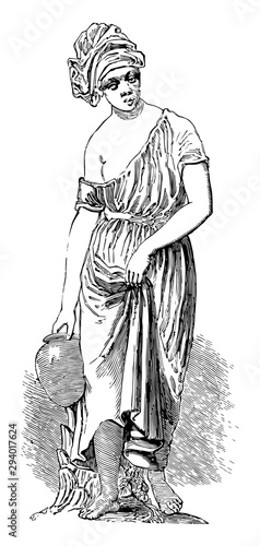 Photo Statuette was depicts a water-bearer, vintage engraving.