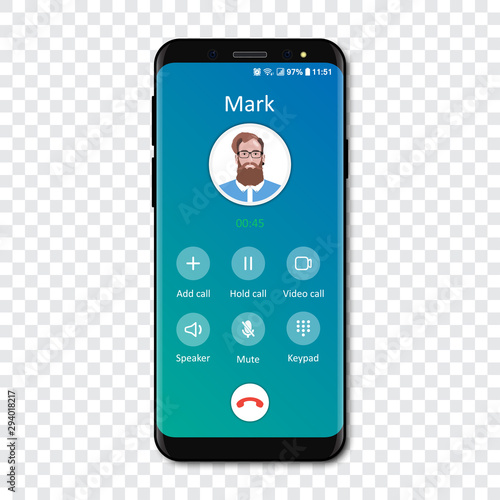 Fényképezés Smartphone call app interface template on a transparent background