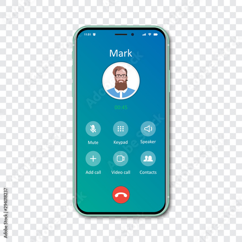 Vászonkép Smartphone call app interface template on a transparent background