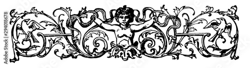 Banner are decorated with a cherub and birds in this picture, vintage engraving Fototapeta