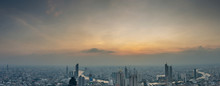 Aerial Skyline Panorama Of Cityscape From Mahanakhon Skywalk And Business Urban Downtown With Beautiful Twilight Peak At Sunset, Cityscape Capital And Financial District Center Of Bangkok, Thailand.