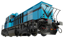 Freight Train Locomotive. Isolated White Background. 3d Rendering.